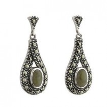 Marble and Marcasite Irish Celtic Earrings