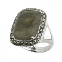 Marcasite and Large Connemara Marble Irish Ring