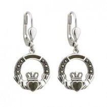 Marcasite Marble Irish Claddagh Sterling Silver Earrings