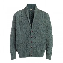 Men's Cable Button Shawl Collar Irish Cardigan