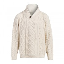 Men's One Button Wool Cable Irish Sweater