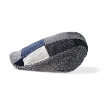 Mens Patchwork Blue Tweed Irish Wool Cap