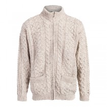 Men's Zipper Irish Cardigan with Cable Patterns