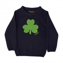 Navy Irish Knit Kids Sweater with Green Shamrock