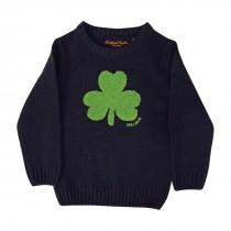 Navy Irish Knit Kids Sweater with Green Shamrock