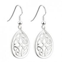 Oval Irish Celtic Knot Earrings Sterling Silver