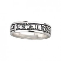 Oxidized Sterling Silver Ladies Irish Claddagh Ring