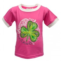 Pink Irish Shamrock Girls Short Sleeve Top
