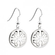 Round Irish Trinity Knot Earrings Sterling Silver