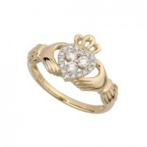 14k Gold Diamond Ladies Claddagh Ring