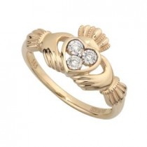 14k Gold 3 Diamond Ladies Claddagh Ring