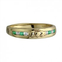 14k Gold Gemstone Claddagh Wedding Band