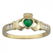 14k Gold Emerald/CZ  Claddagh Wedding Ring