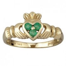 14k Gold 3 Emerald Claddagh Ring