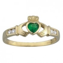 10k Claddagh Ring with Synthetic Emerald /CZ