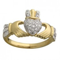 14k Gold Micro Diamond Claddagh Ring