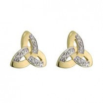 14k Yellow Gold and Diamonds Two Tone Trinity Knot Stud Earrings