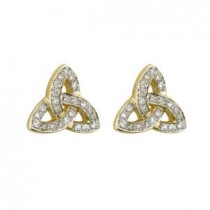 14k Yellow Gold Diamonds Trinity Knot Stud Earrings