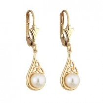 14k Yellow Gold Pearl and Trinity Knot Drop Leverback Earrings