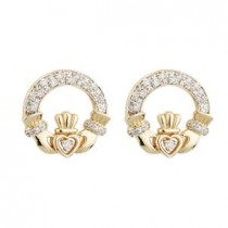 14K Gold Diamond Claddagh Earrings