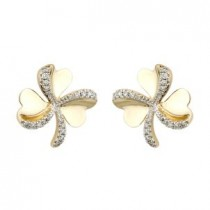 14K Gold Diamond Shamrock Earrings