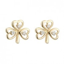 14K Gold 3 Diamond Shamrock Earrings