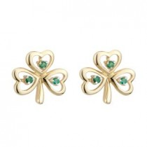 14K Yellow Gold Emerald Shamrock Earrings