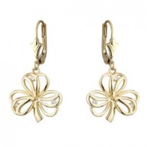14K Gold Diamond Open Drop Shamrock Earrings