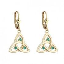 14k Gold Emerald Open Trinity Knot Drop Earrings
