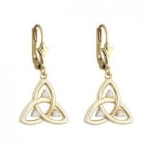 14k Gold Diamond Open Trinity Knot Drop Earrings