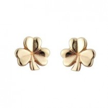 14k White Small Shamrock Stud Earrings