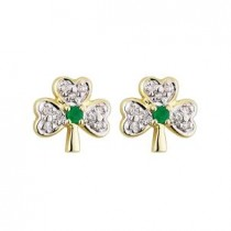 14k Gold Diamond and Emerald Shamrock Stud Earrings