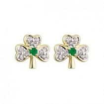 14k Gold Diamond and Emerald Shamrock Stud Earrings