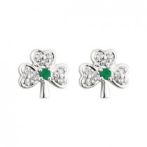 14k White Gold Diamond and Emerald Shamrock Stud Earrings
