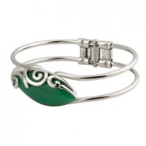 green oval irish celtic bangle bracelet