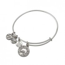 Irish Claddagh Charm Bangle Bracelet Silver Tone