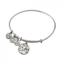 Irish Shamrock Charm Bangle Bracelet Silver Tone