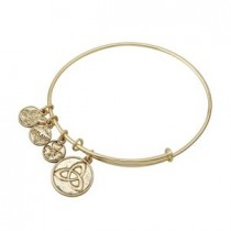 Irish Trinity Knot Charm Bangle Bracelet Gold Tone