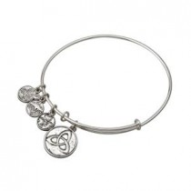 Irish Trinity Knot Charm Bangle Bracelet Silver Tone