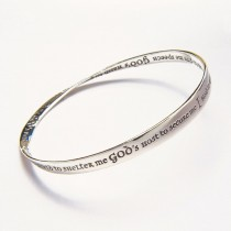 St Patricks Prayer Sterling Silver Bangle Bracelet