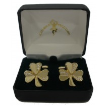 Shamrock Gold Cuff Links CZ Stones