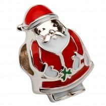 Silver Enamel Santa Irish Charm Bead