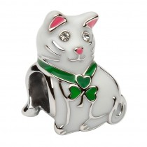 Silver Enamel Irish Shamrock Cat Charm Bead