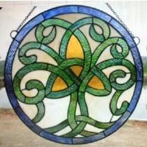 Stained Glass Irish Celtic Tree of Life Window Ornament