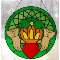Stained Glass Irish Claddagh Window Ornament