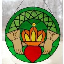 Stained Glass Irish Claddagh Window Ornament