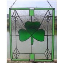 Stained Glass Irish Shamrock Window Ornament