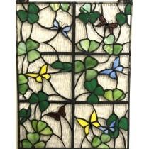 Stained Glass Irish Shamrocks and Butterflies Window Ornament