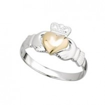 Sterling Silver and Gold Heart Irish Claddagh Ring