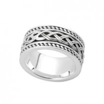 Sterling Silver Celtic  Knot Mens Irish Wedding Band